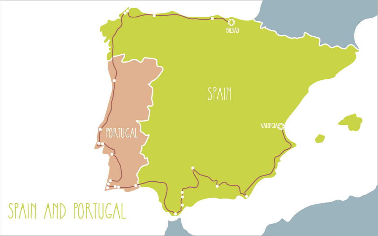 Map Of Portugal And Spain.Spain And Portugal Itinerary Family Corel Adventures